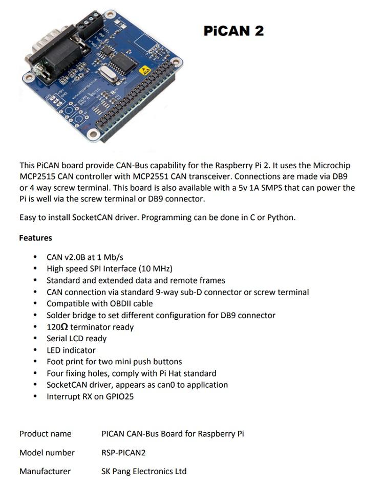 【佑齊企業 iCmore】PiCAN2 CAN-Bus Board for Raspberry Pi 2/3 開發模組