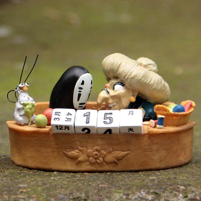 =優生活=宮崎駿 龍貓 千與千尋無臉男錢婆婆萬年曆擺設微景觀造景公仔 年曆日曆 聖誕禮物