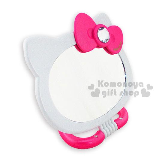 〔小禮堂〕Hello Kitty 造型兩用雙面鏡《粉.大臉.愛心底座.泡殼》
