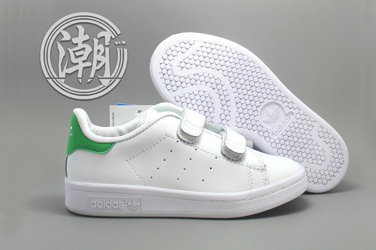 Adidas stan smith 魔鬼氈 史密斯 童鞋 白綠 大童鞋 休閒 學步 透氣 經典 百搭【T0081】潮