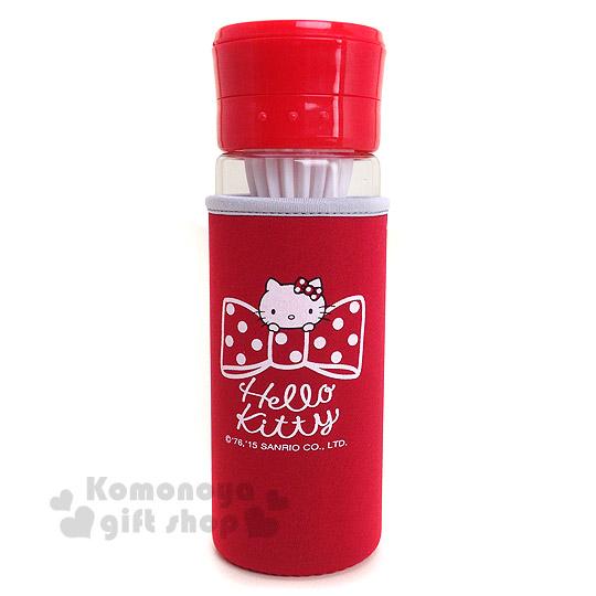 〔小禮堂〕Hello Kitty 清涼隨身檸檬瓶《紅.大臉.蝴蝶結.500ml》附瓶套