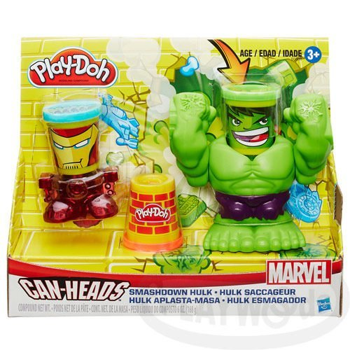 【Playwoods】[培樂多黏土PLAYDOH]漫威浩克&鋼鐵人遊戲組(內含3罐黏土&英雄底座/孩之寶Hasbro/Mavel/Hulk/Ironman)