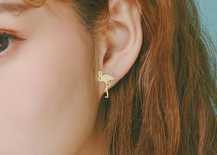 韓國飾品,夾式耳環,螺旋夾耳環,紅鶴造型耳環,貼耳耳環