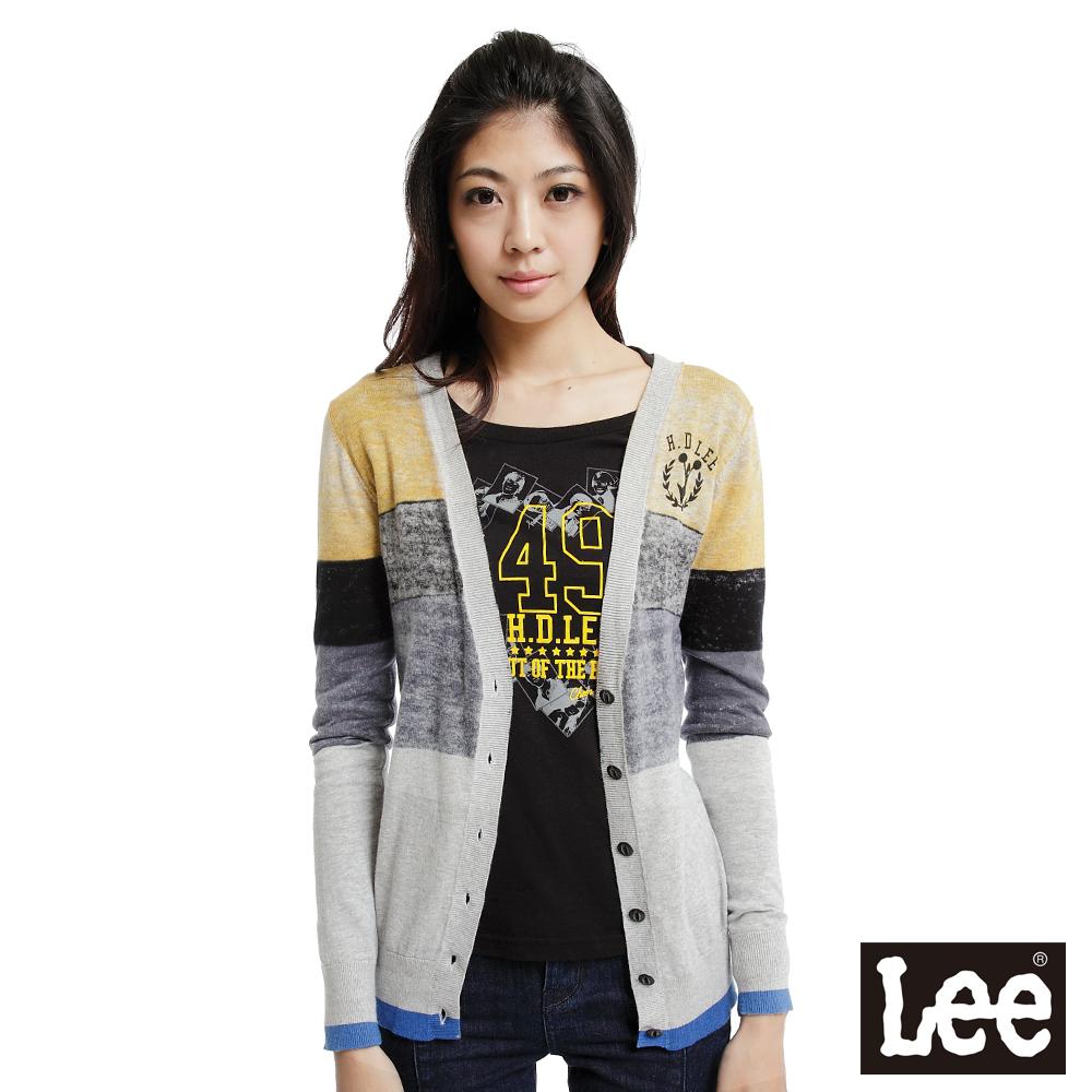 【Super Sales 外套下殺↘1.5折】LEE 前開扣印刷純棉針織外套-女款(黑灰黃)