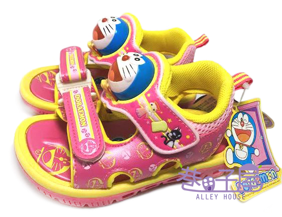 【巷子屋】哆啦A夢 女童大頭造型電燈運動休閒涼鞋 [41233] 粉 MIT台灣製造 超值價$198