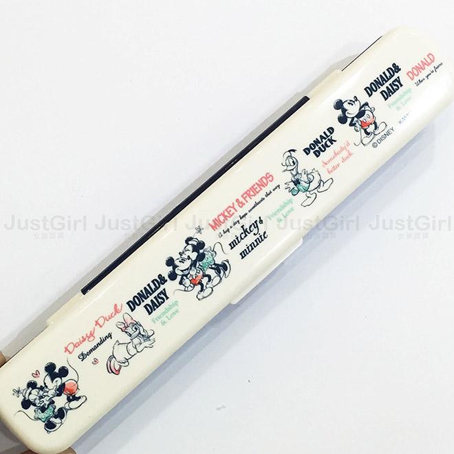 迪士尼 米奇米妮 黛西唐老鴨 環保餐具組 兒童餐具 筷子 湯匙 叉子 餐具 正版日本製造進口 * JustGirl *
