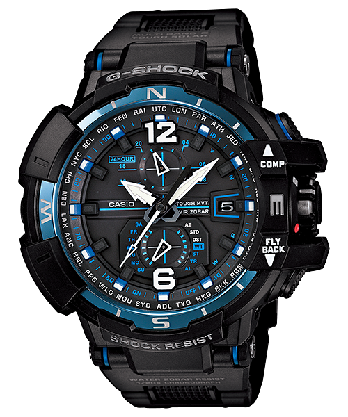 國外代購 CASIO G-SHOCK GW-A1100FC-1A 飛行表 雙顯 運動防水手錶腕錶電子錶男女錶 黑藍