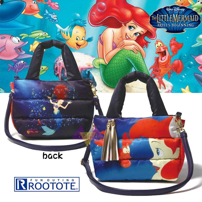 叉叉日貨 迪士尼小美人魚賽巴斯汀Rootote藍底流蘇太空包手提包肩背包斜背包~皮質背帶【Di38172】到貨囉~