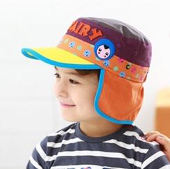 Kofairy可飛兒◆字母宇宙星球兒童護頸防曬遮陽棒球帽盆帽-黃色