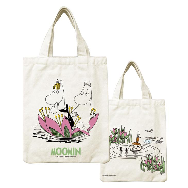 Moomin嚕嚕米正版授權 - 帆布包:【 蓮花池邊的嬉戲 】
