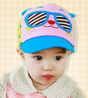 Lemonkid◆帥氣可愛眼鏡小熊立體耳朵兒童休閒鴨舌帽-藍色