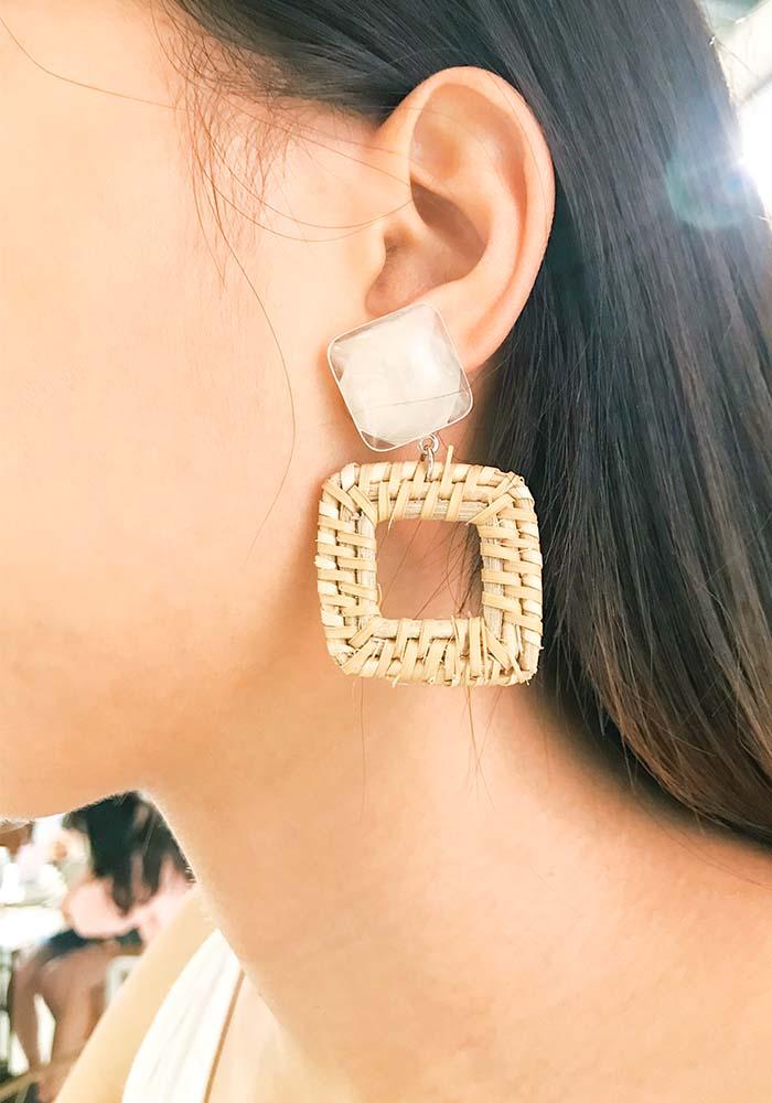 韓國耳環,夾式耳環,耳夾,矽膠夾耳環,藤編耳環,編織耳環,方形簍空造型