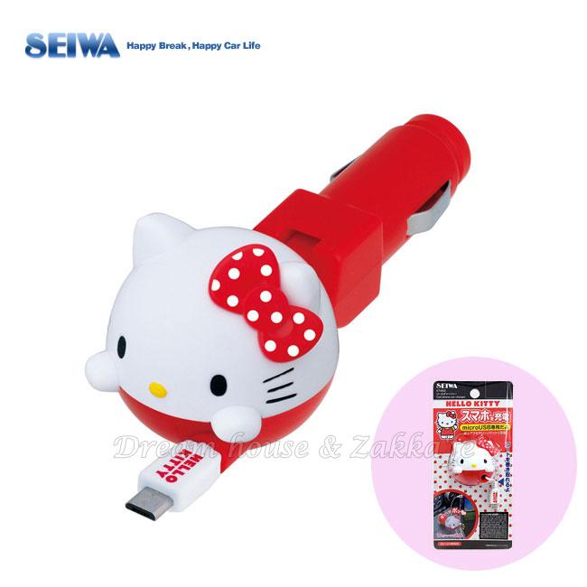 日本進口 KITTY 造型 micro USB 汽車 車用充電器/車充/手機充電器 《 正版三麗鷗 Sanrio 》 ★ Zakka\