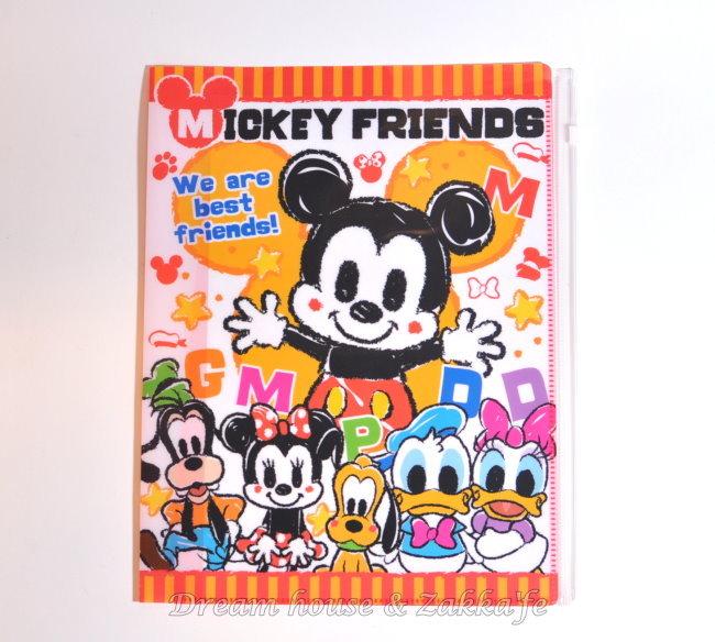 日本正版 Disney 迪士尼 米奇好朋友/米老鼠 翻頁式 資料夾/檔案夾/文件夾 《 含4頁6個L型夾 1個夾鏈收納袋 》★ 多功能 超好用 ★