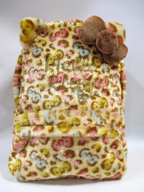 日本三麗鷗 Hello Kitty 絨毛豹紋 後背包包/背包/大包包《 日本限定 》★ Zakka\