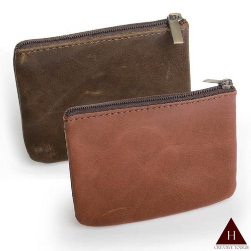 【H-CT】極簡方型拉鍊真皮零錢包-多色隨機(PEU01-Z)