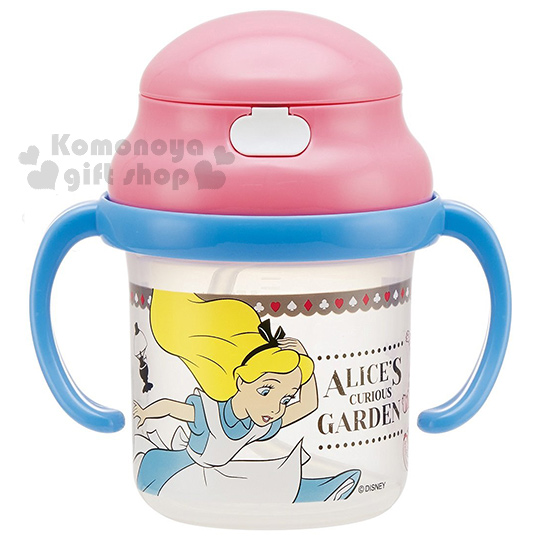 〔小禮堂〕迪士尼 愛麗絲 幼兒雙耳學習杯《藍粉.妙妙貓.230ml》吸管式.適用8個月大寶寶