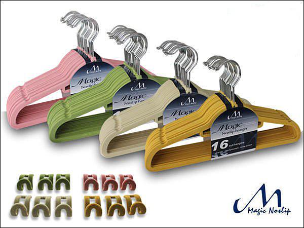 【洛克馬創意生活館】一代 Magic Hanger 韓國熱銷款不滑落衣架 76件組 植絨 超薄 支撐性優-彩色組