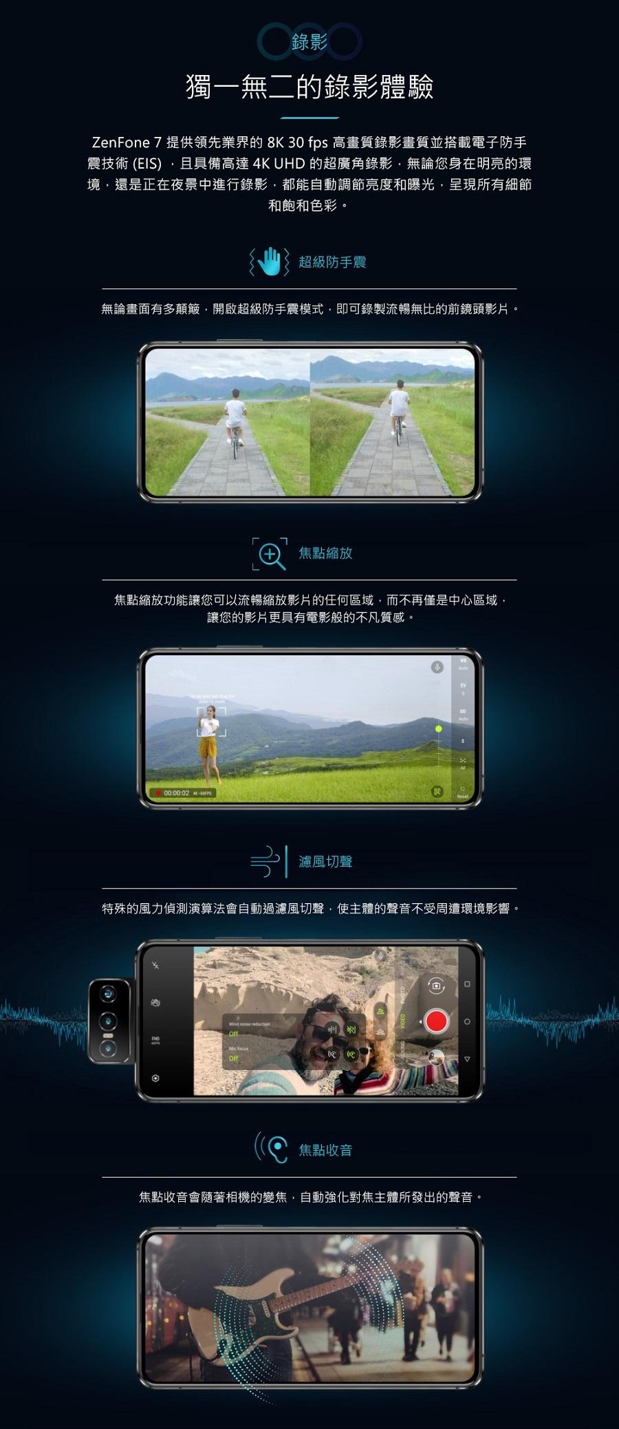ZenFone 7 提供領先業界的 8K 30 fps 高畫質錄影畫質並搭載電子防手震技術 (EIS) ,且具備高達 4K UHD 的超廣角錄影,無論您身在明亮的環境,還是正在夜景中進行錄影,都能自動調節亮度和曝光,呈現所有細節和飽和色彩。