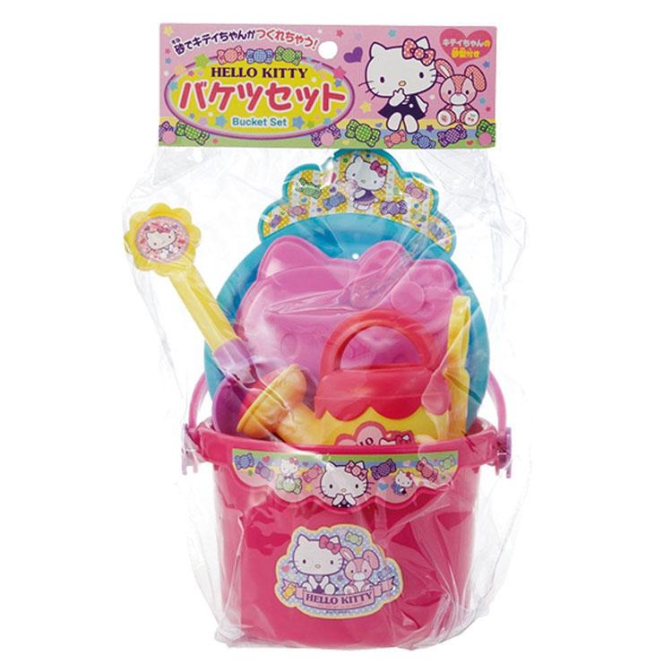 【真愛日本】9082100069 兒童戲沙玩具組 Hello kitty 凱蒂貓 堆沙堡 挖沙 鏟子 水桶