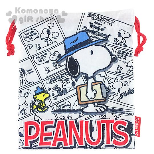 〔小禮堂〕史努比 棉質束口袋《白.漫畫格.戴藍帽子.糊塗塔克》