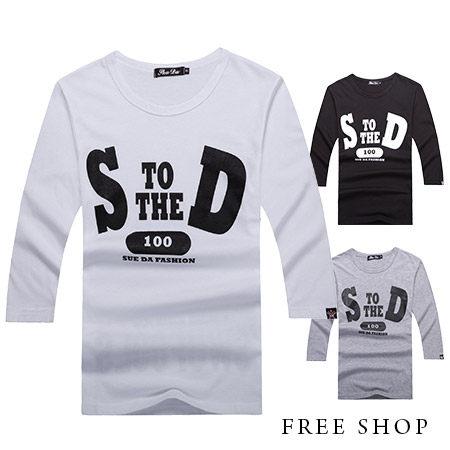 Free Shop【QR05033】美式休閒SD字母印花素色圓領棉質七分袖短T短袖上衣‧三色 MIT台灣製