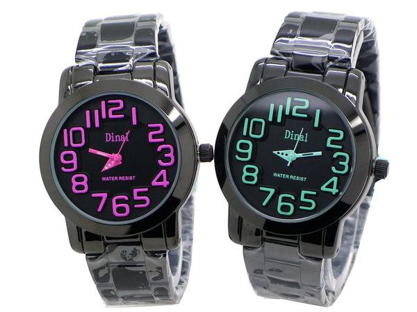 《好時光》Dinal 質感黑 繽紛糖果色 浮雕數字 立體層次感面盤 時尚男錶/女錶