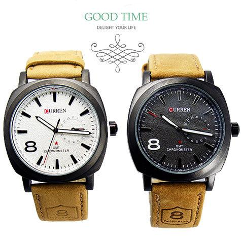 《好時光》CURREN 軍錶風格 磨砂質感霧面框 仿日期圈 夜光 時尚男錶-皮錶帶