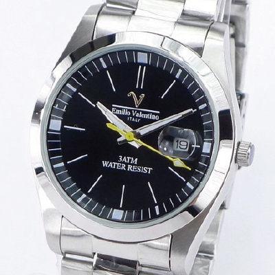 《好時光》Emilio Valentino 范倫鐵諾 經典都會大面徑(日期窗)不鏽鋼時尚男錶-黑色