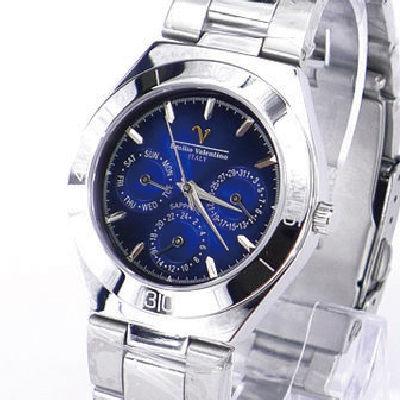 《好時光》Emilio Valentino 范倫鐵諾 時尚菁英 三眼不鏽鋼石英錶-水晶鏡面-深海藍