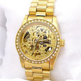 《好時光》Valentino 范倫鐵諾 金色/銀色機芯 晶鑽框雙面鏤空雕花自動機械錶