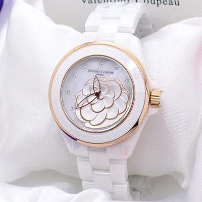 《好時光》Valentino 范倫鐵諾 山茶花 香奈女孩 高精密全陶瓷珍珠貝晶鑽女錶-水晶鏡面-玫瑰金白