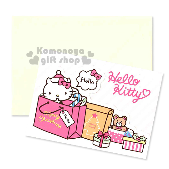 〔小禮堂〕Hello Kitty 造型三折聖誕卡片《S.粉黃.提袋.禮物.斜條紋》附信封