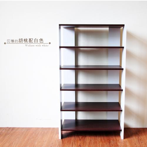 《Hopma》胡桃配白多功能組合式五層鞋櫃