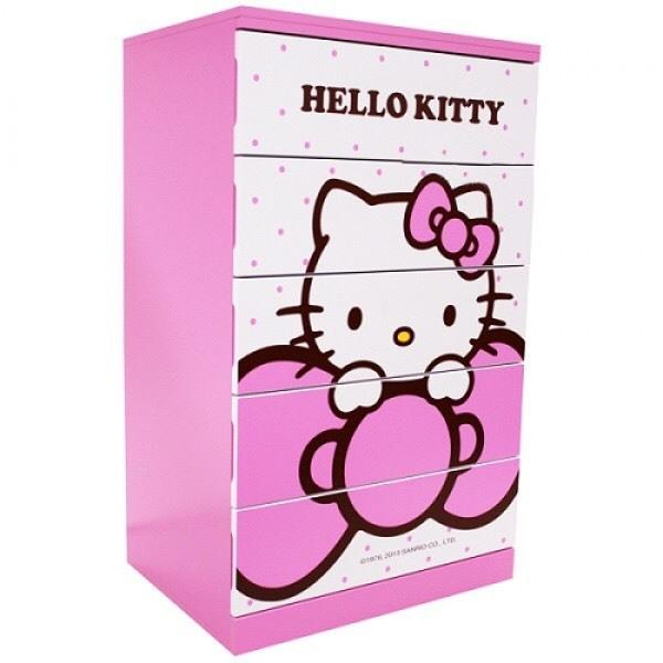 【真愛日本】13062100001 五斗櫃-蝴蝶結 三麗鷗 Hello Kitty 凱蒂貓 鞋櫃 衣物櫃 置物櫃 正品