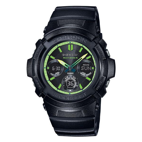 CASIO G-SHOCK AWG-M100SLY-1A電波萊姆綠雙顯時尚腕錶/綠面46mm