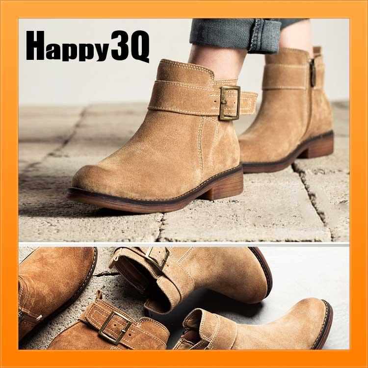 復古低跟粗跟絨面磨砂側拉鍊皮帶扣短靴子工程靴-駝/棕35-39【AAA1019】