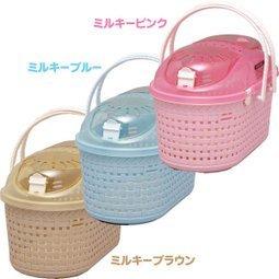日本 IRIS 寵物外出提籃 MPC-450 透明上蓋 上開式 仿藤紋提籠 藍/桃/茶 三色