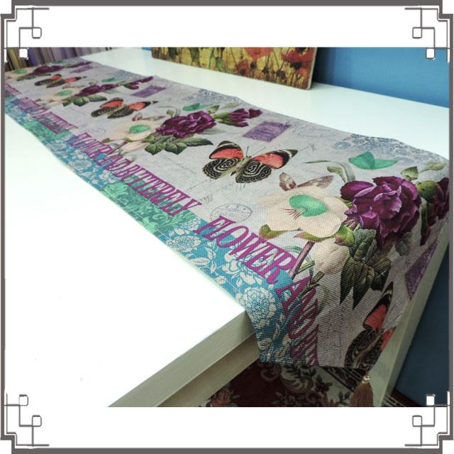 棉麻桌旗《33X180-16》蝴蝶玫瑰桌旗巾 桌布 桌巾 桌墊 三角桌巾 鄉村風家飾◤彩虹森林◥