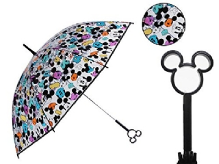 『日本代購品』黑柄滿版米奇款 日本 迪士尼 米奇鏤空造型把手 透明直傘 雨傘