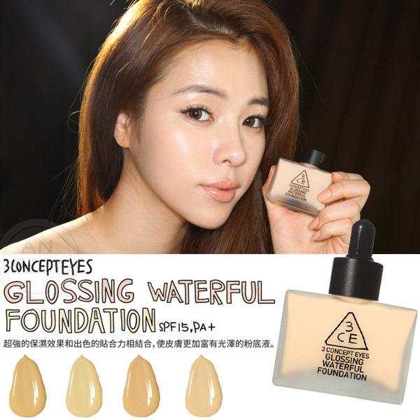 韓國3CE(3CONCEPT EYES) GLOSSING WATERFUL FOUNDATION超水感粉底液 40g 【AN SHOP】