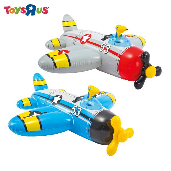 玩具反斗城 【INTEX】可愛螺旋槳飛機騎乘(含水搶) 充氣水上用品