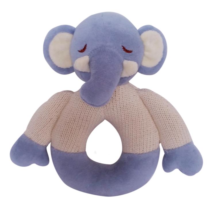 美國MyNatural 有機棉晚安系列固齒器手搖鈴 -粉藍小象