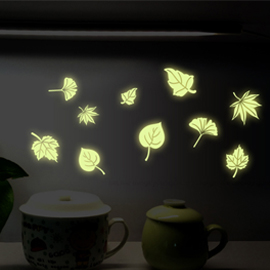 WallFree窩自在 DIY無痕創意牆貼/壁貼-夜光樹葉 AY0035