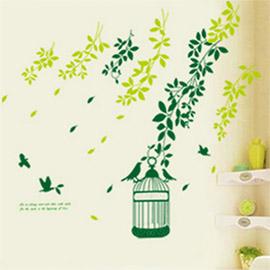 WallFree窩自在 DIY無痕壁貼 牆貼-綠葉小鳥籠 AY740