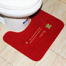 WallFree窩自在 韓系超唯美 繡花板 馬桶地墊-四葉草 (48X40) (紅色)