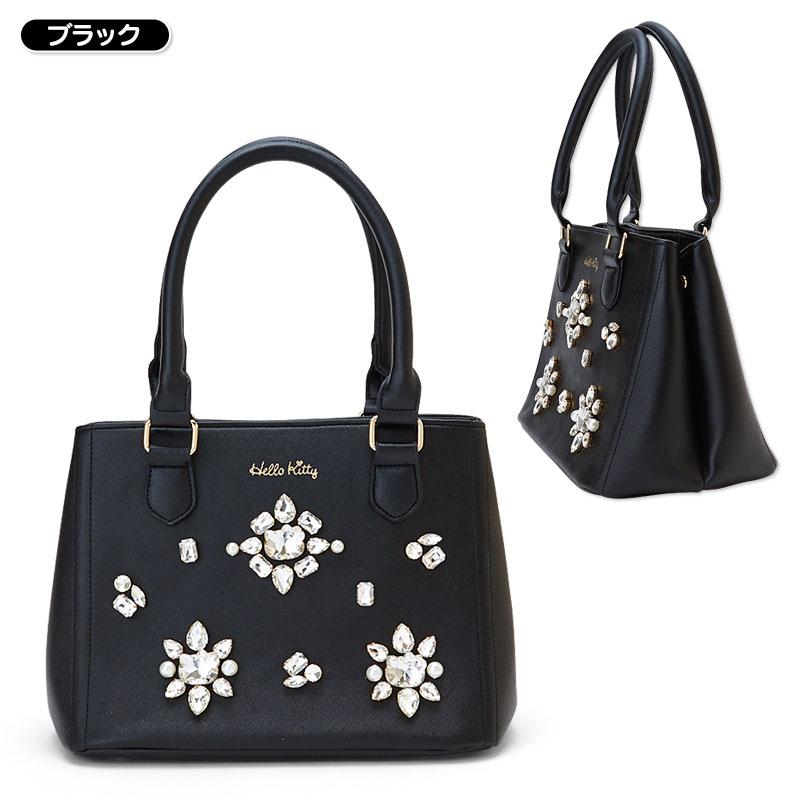 【真愛日本】15111200005 手提包-KT鑽花黑 三麗鷗 Hello Kitty 凱蒂貓 ?背包 手提包 包包