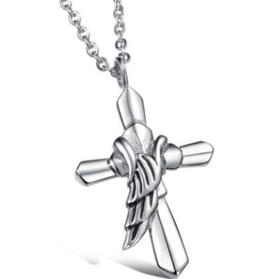 鈦鋼項鍊吊墜-個性流行翅膀十字架情人節生日禮物男配件73cm144【獨家進口】【米蘭精品】