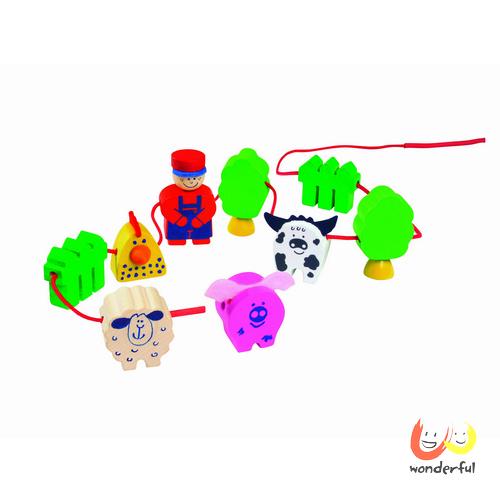 【Selecta 木製遊戲玩具】農場木製串繩遊戲 BCST0090