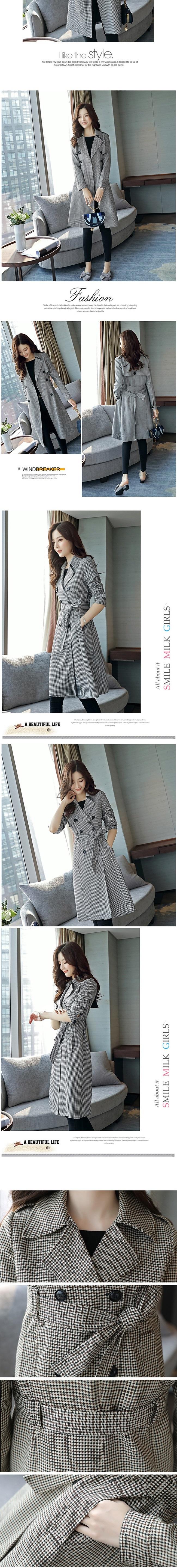 風衣大衣-翻領長版韓版時尚雙排釦率性女外套